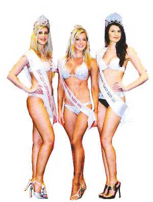 获得二○一○年世界比基尼模特大赛奖项的波兰,捷克,南非的三位小姐
