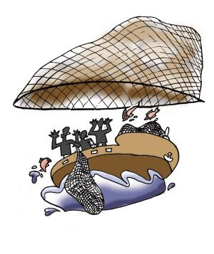 鱼网卡通矢量图