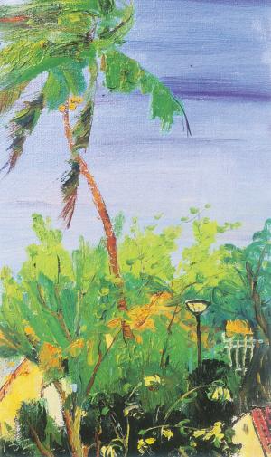 椰子林风景油画