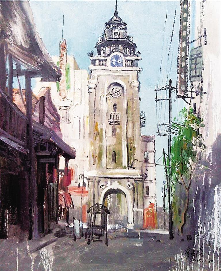 张立平写生油画《骑楼街景》
