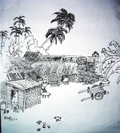 海南风景手绘画