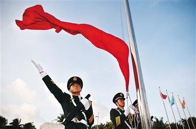 海南日报数字报-三沙9岛礁 br>联动升国旗