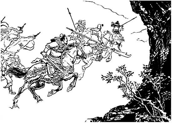 刘备关羽张飞在沙场联手杀敌的连环画