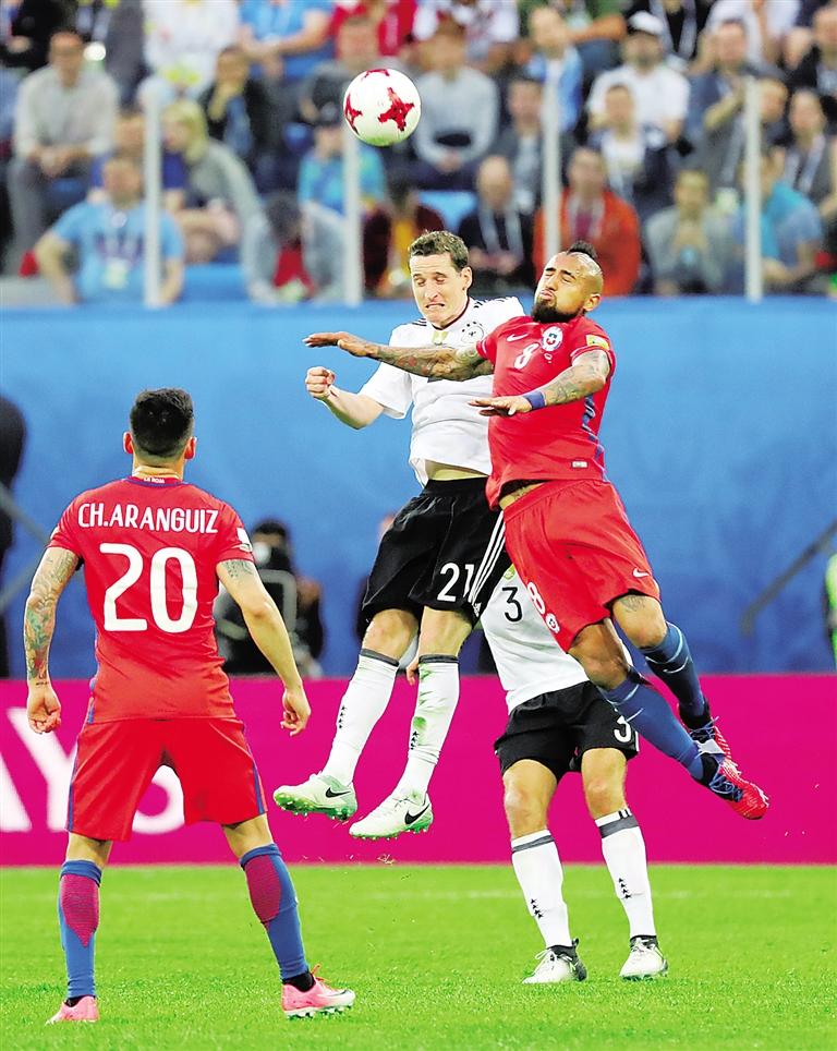 7月2日,在俄罗斯圣彼得堡举行的2017年联合会杯足球赛决赛中,德国队