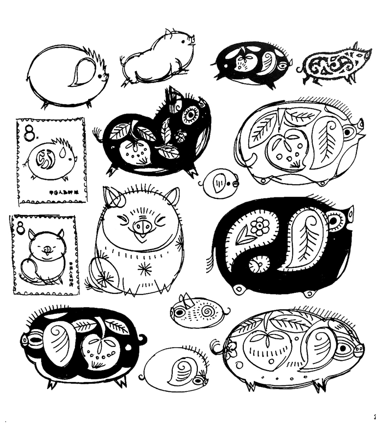 猪的图案设计图片